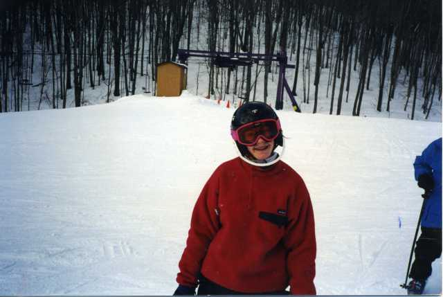 Maggie Doherty, 1995 ski meet, Nub's Nob. I still have and wear the red fleece. However, I lost the pink goggles.