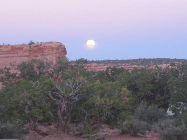 Full moon rising above our campsite.