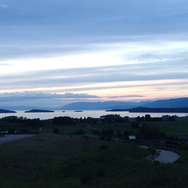 Flathead Lake at sunset.
